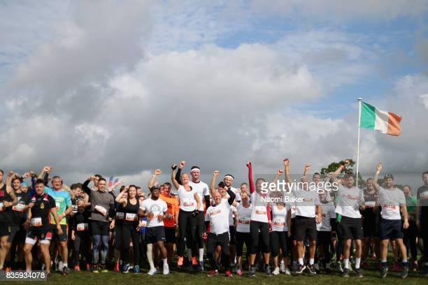 Competitors warm up prior to the 2017 Tough Mudder South West at Badminton Estate on August 20 2017 in Cirencester England
