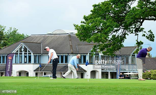 Competitors warming up on the putting green infant of the club house during the Lombard Trophy Scottish Qualifier at Crieff Golf Club on June 16 2015...