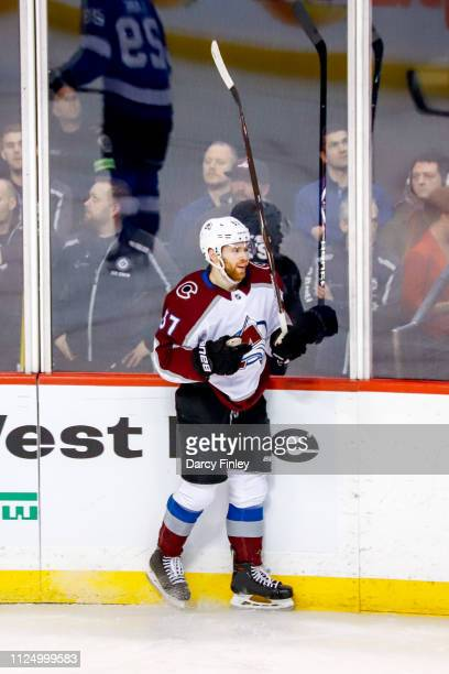 T Compher of the Colorado Avalanche celebrates after scoring a second period goal against the Winnipeg Jets at the Bell MTS Place on February 14 2019...