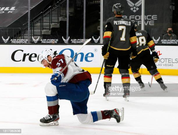Compher of the Colorado Avalanche reacts after scoring a third-period goal against the Vegas Golden Knights during their game at T-Mobile Arena on...