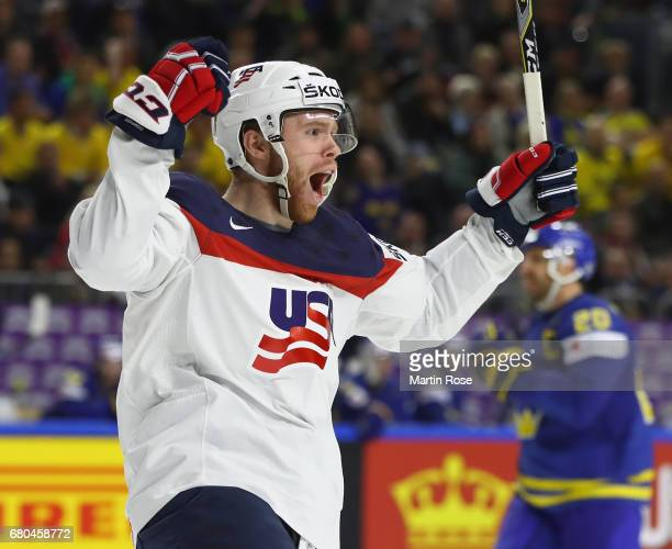 T Compher of USA celebrates scoring the fourth goal during the 2017 IIHF Ice Hockey World Championship game between USA and Sweden at Lanxess Arena...