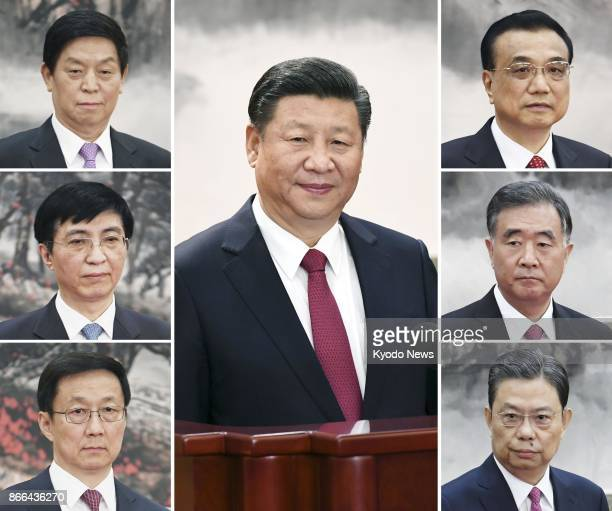 Compilation photo shows Chinese President Xi Jinping and members of his new leadership team namely Premier Li Keqiang Vice Premier Wang Yang Zhao...