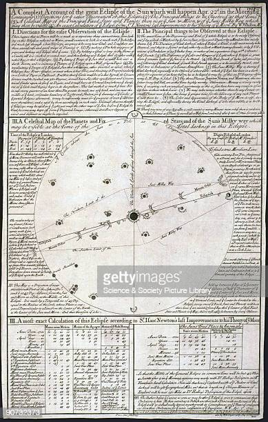'A Compleat account of the Great Eclipse of the Sun which will happen Apr 22' Broadsheet engraving by I Senex and text by W Whiston William Whiston...