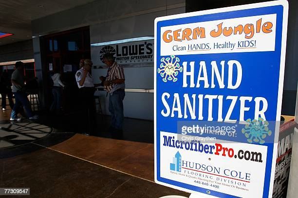 Complementary hand sanitizer is available in front of the media center after concerns of public health issues at events involving large gatherings...