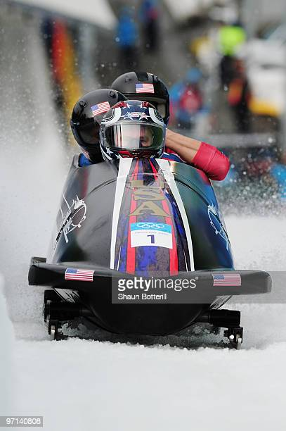 USA 1 complete heat 3 during the men's four man bobsleigh on day 16 of the 2010 Vancouver Winter Olympics at the Whistler Sliding Centre on February...