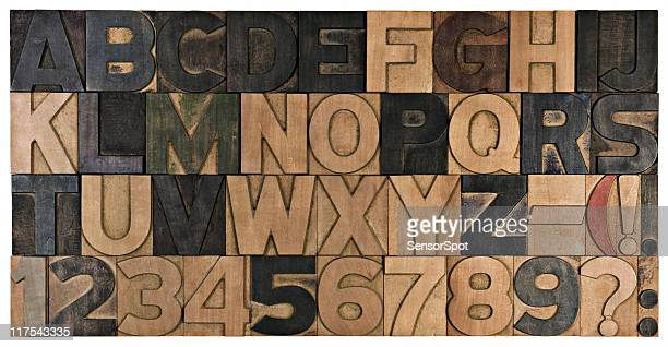Complete wood printing alphabet.