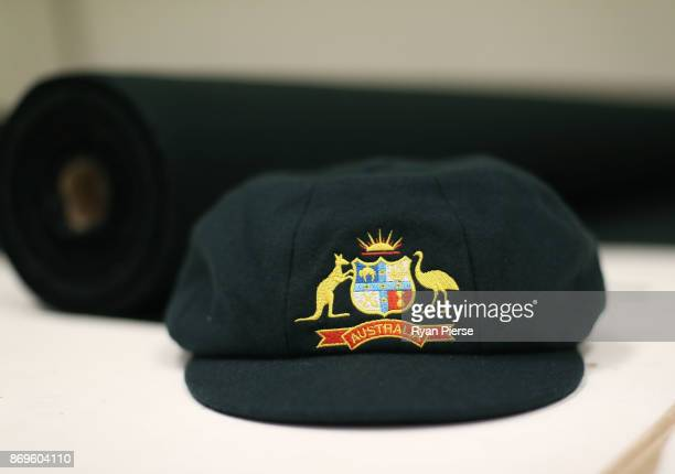 A completed Australian Baggy Green Cap is seen during the making of the Kookaburra Australian Baggy Green Cap on October 31 2017 in Perth Australia...