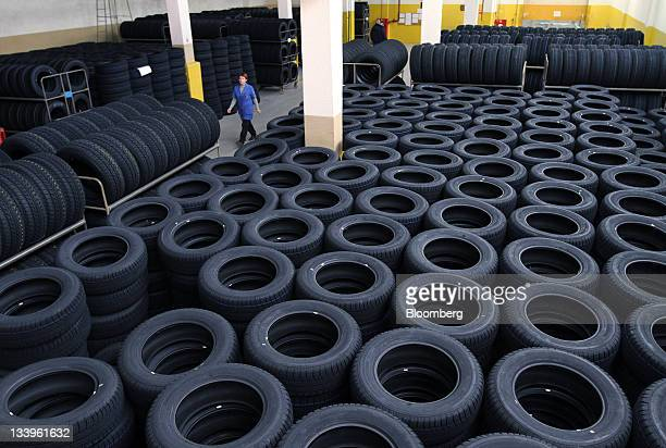 Completed car tires are seen stacked at the ZAO Sibur Holding tire manufacturing plant in Voronezh, Russia, on Friday, Nov. 18, 2011. Pirelli is...