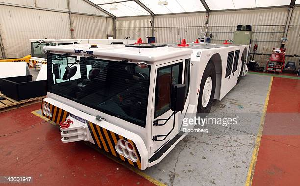 A completed DC12 aviation towing tractor is seen at the Douglas Equipment plant owned by CurtissWright Corp in Cheltenham UK on Tuesday April 17 2012...