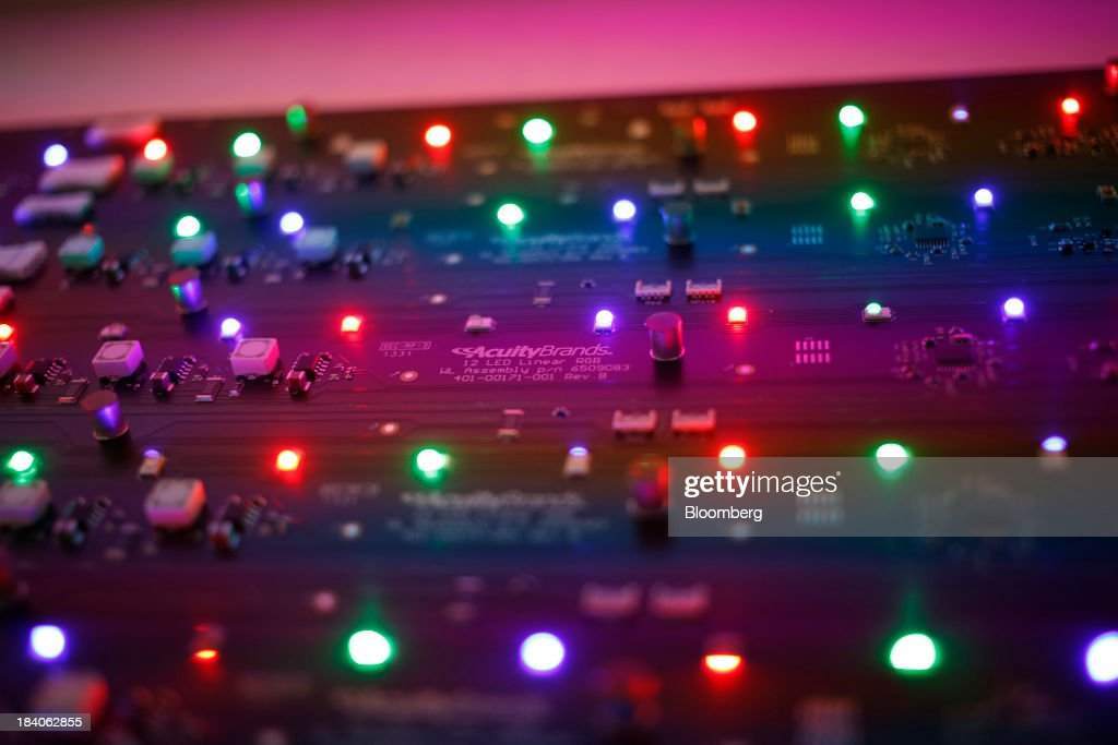 Completed LED light circuit boards are displayed at the Lithonia Lighting manufacturing facility a subsidiary & Acuity Brands LED Light Manufacturing Plant Photos and Images ... azcodes.com