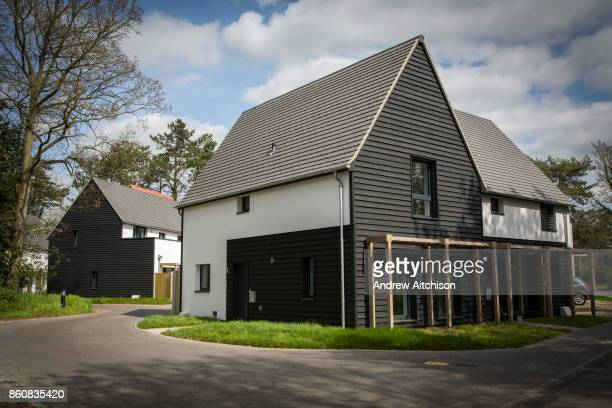 Completed Passivhaus homes on a brand new house construction site in Norwich Norfolk United Kingdom