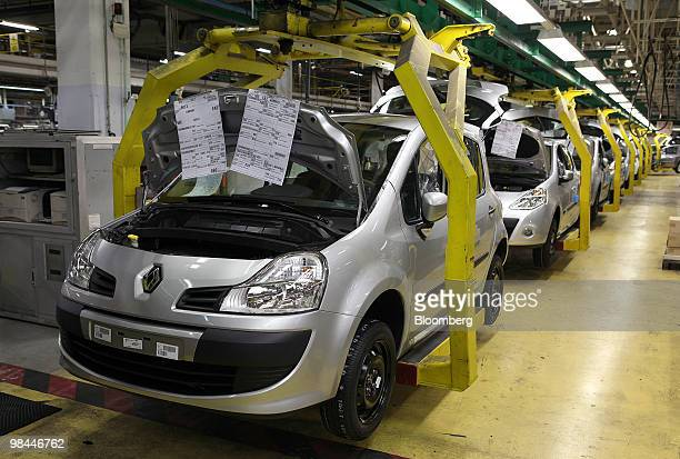 Completed Renault Clio vehicles move along the production line at the Renault factory in Valladolid Spain on Tuesday April 13 2010 Renault SA and...