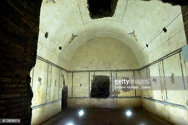 Completed the restoration of the Pyramid of Caius Cestius cost 2 million euro funded by patron Japanese Yuzo Yagi Pictured The interior of the...