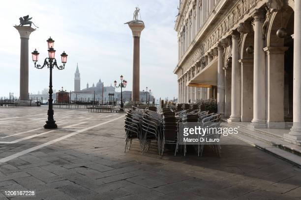 """Completely empty San Marco Square is seen on March 9, 2020 in Venice, Italy. Prime Minister Giuseppe Conte announced a """"national emergency"""" due to..."""