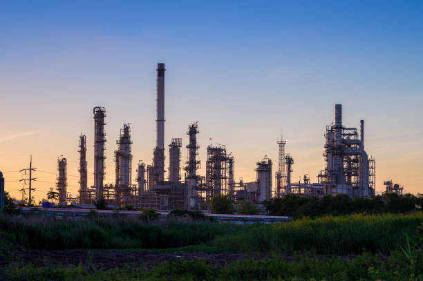 Complex industrial piping at oil refinery