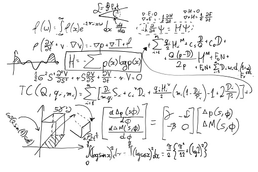 Complex math formulas on whiteboard. Mathematics and science with economics 696935130