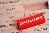 Compliance Concept with Wooden Blocks in Red Color