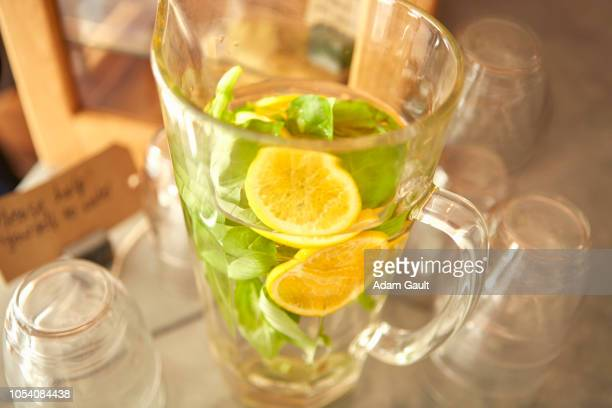 complimentary jug of refreshing water in cafe - free of charge stock pictures, royalty-free photos & images