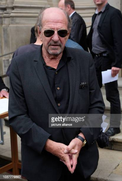 Componist Ralph Siegel leaving the public memorial service for James Last at StMichael's church in Hamburg Germany 8 July 2015 The musician died on 9...