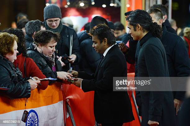 Composer A R Rahman and director Imtiaz Ali attend the 'Highway' premiere during 64th Berlinale International Film Festival at Zoo Palast on February...