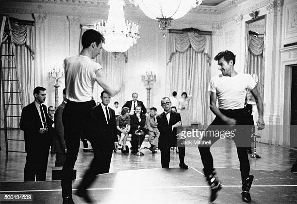 Composer Aaron Copeland and Choreographer Eugene Loring rehearse American Ballet Theatre's classic 'Billy the Kid' prior to a performance in the...