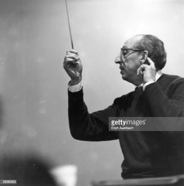 US composer Aaron Copland conducting