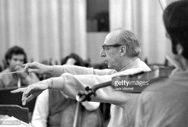 Composer Aaron Copland conducting the Empire State Sinfonetta in April 1971