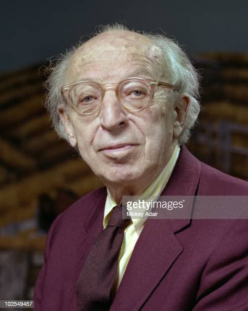 Composer Aaron Copland poses on the set of his opera 'The Tenderland' on the stage of Ruby Diamond Auditorium at Florida State University in 1979 in...