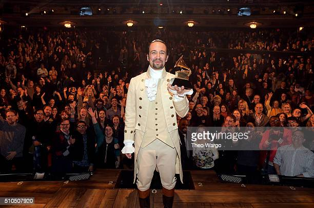 Composer actor LinManuel Miranda celebrates GRAMMY award on stage during Hamilton GRAMMY performance for The 58th GRAMMY Awards at Richard Rodgers...