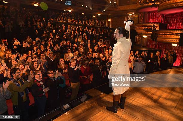 Composer actor LinManuel Miranda celebrates receiving GRAMMY award during Hamilton GRAMMY performance for The 58th GRAMMY Awards at Richard Rodgers...