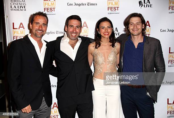 Composer Adam Balazs director Seth Grossman actors Lara Vosburgh and Morgan McClellan attend the premiere of Inner Demons during the 2014 Los Angeles...