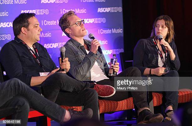 Composer Adam Schlesinger, composer Jack Dolgen and actress/singer Rachel Bloom speak onstage during the 'Feeling Kinda Naughty' panel, part of the...