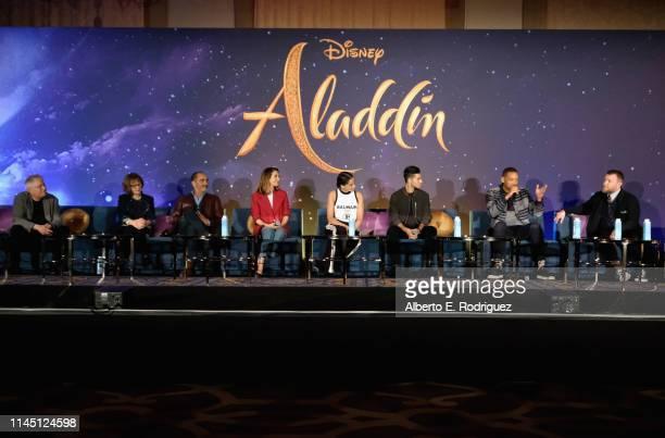 Composer Alan Menken Production designer Gemma Jackson actors Navid Negahban Nasim Pedrad Naomi Scott Mena Massoud Will Smith and Director Guy...
