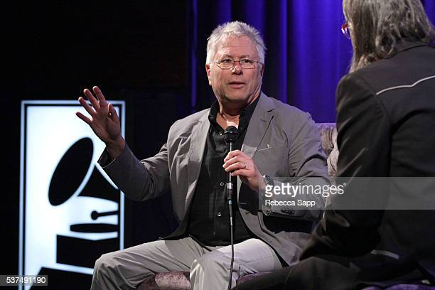 Composer Alan Menken speaks with Vice President of the GRAMMY Foundation Scott Goldman at An Evening With Alan Menken at The GRAMMY Museum on June 1...