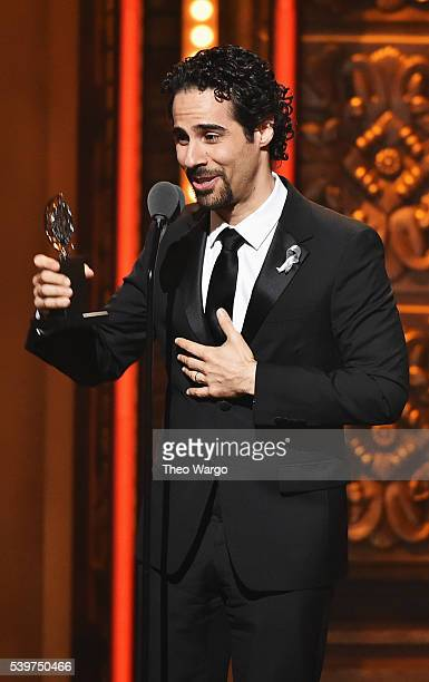Composer Alex Lacamoire accepts the award for Best Orchestrations for his work in Hamilton onstage during the 70th Annual Tony Awards at The Beacon...