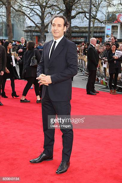 Composer Alexandre Desplat arrives for the UK film premiere of Florence Foster Jenkins at Odeon Leicester Square on April 12 2016 in London England