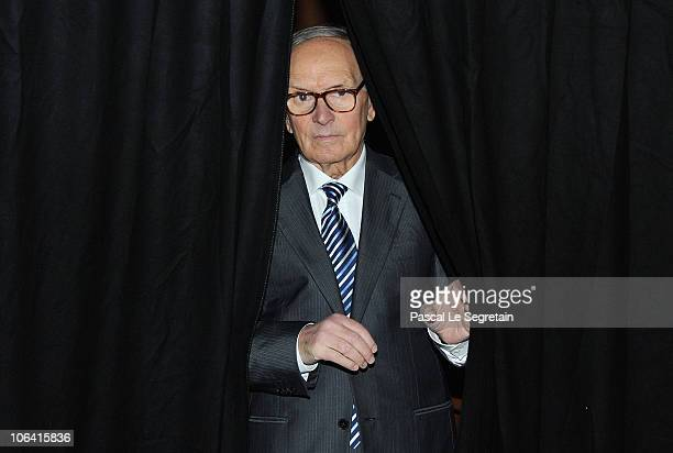 Composer and conductor Ennio Morricone attends an Q A session at the 5th International Rome Film Festival at Auditorium Parco Della Musica on...