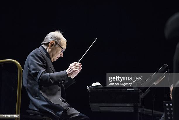 Composer and conductor Ennio Morricone performs at Hala Stulecia on February 23 2016 in Wroclaw Poland The internationally renowned Italian film...
