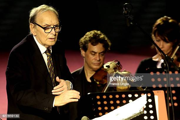 Composer and conductor Ennio Morricone performs in the Paul VI Hall during a Concert at Vatican for the Jubilee Year closing on November 12 2016 in...