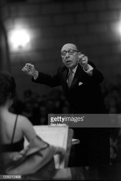 """Composer and conductor Igor Stravinsky conducting the Columbia Symphony Orchestra at Carnegie Hall in his """"Le sacre du printemps"""", January 3, 1960."""