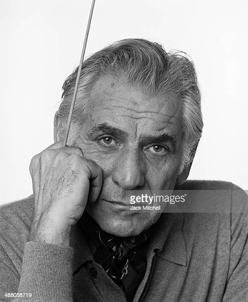 American composer Leonard Bernstein sits at a piano during a press conference at the Maison de la Radio in Paris Bernstein has been taking turns...