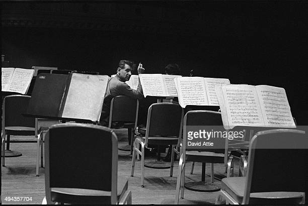 Composer and conductor Leonard Bernstein rehearses at Carnegie Hall in 1959 in New York City New York