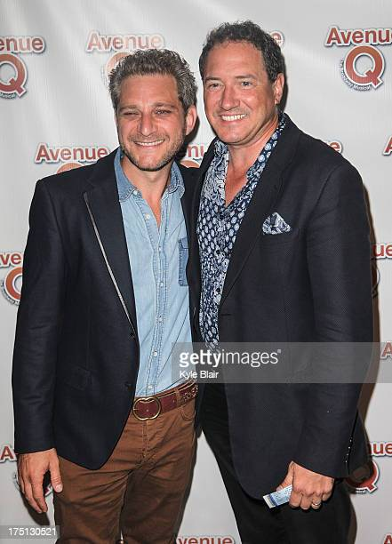 Composer and lyricist Jeff Marx and Kevin McCullum attend the Avenue Q 10th year anniversary performance at New World Stages on July 31 2013 in New...