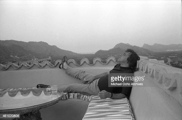Composer and lyricist Stephen Sondheim poses for a portrait on August 16 1972 in Majorca Spain