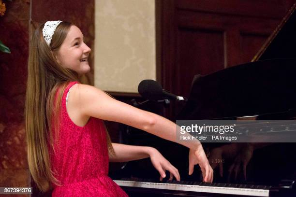 Composer and musician Alma Deutscher playing the piano during a live broadcast of BBC Radio 4's Today programme at Wigmore Hall in central London as...