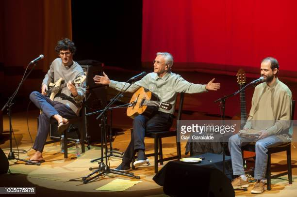 Composer and musician Caetano Veloso performs onstage with sons Tom and Moreno during 53rd edition of Heineken Jazzaldia Festival on July 26 2018 in...