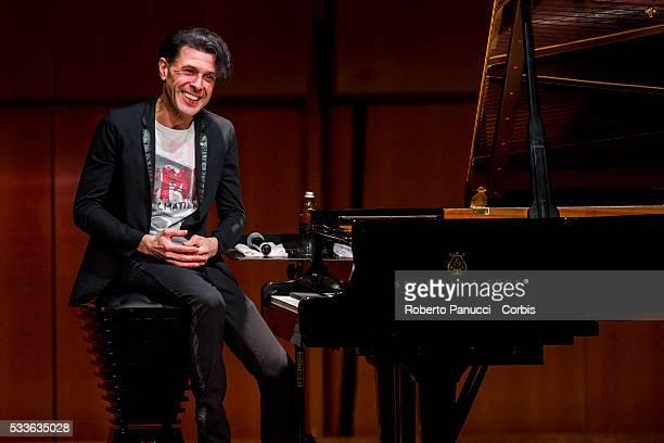 Composer and musician Ezio Bosso performs at the Auditorium Parco della Musica on April 12 2016 in Rome Italy