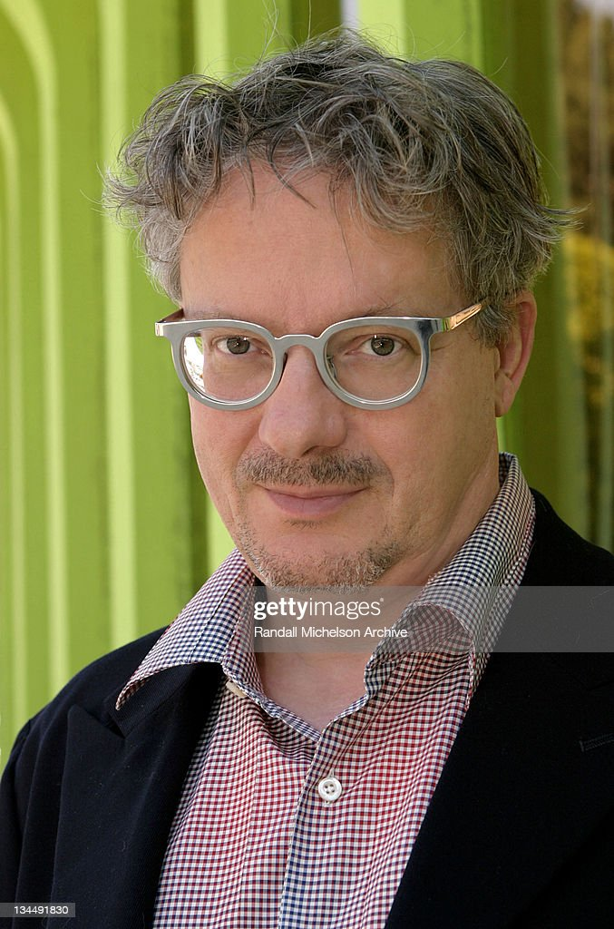 Composer and musician Mark Mothersbaugh poses outside his Mutato Muzika Studios on April 20, 2004 in West Hollywood, CA.