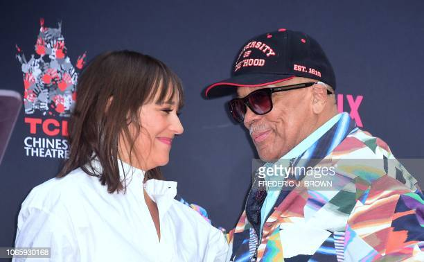 Composer and Producer Quincy Jones and his daughter actress Rashida Jones attend his Hand and Footprints ceremony at the TCL Chinese Theater in...