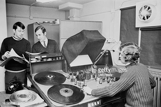 Composer and sound engineer Brian Hodgson at the film viewing machine at the BBC Radiophonic Workshop at the BBC's Maida Vale studios London 22nd...